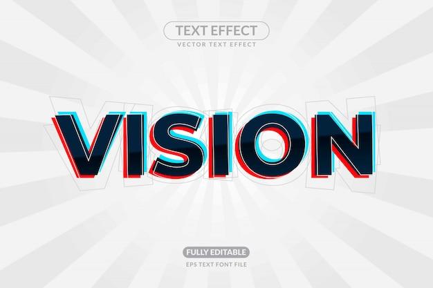 Effetto testo modificabile eye vision Vettore Premium