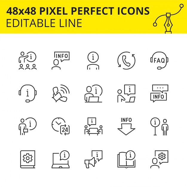 Icone modificabili di aiuto e supporto. Vettore Premium