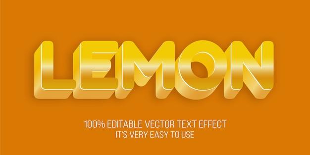 Effetto di carattere modificabile in stile limone Vettore Premium