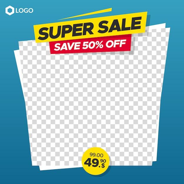 Banner di vendita modificabile con cornice astratta vuota per instagram e web Vettore Premium
