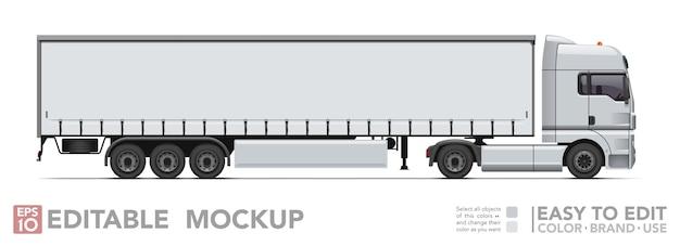 Semi camion modificabile. trattore realistick e rimorchio ribaltabile su sfondo bianco Vettore Premium