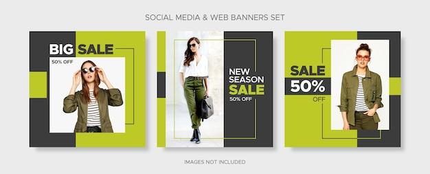 Modelli di banner di vendita di moda quadrati modificabili impostati con tag di sconto e cornice vuota per social media, post di instagram e web Vettore Premium