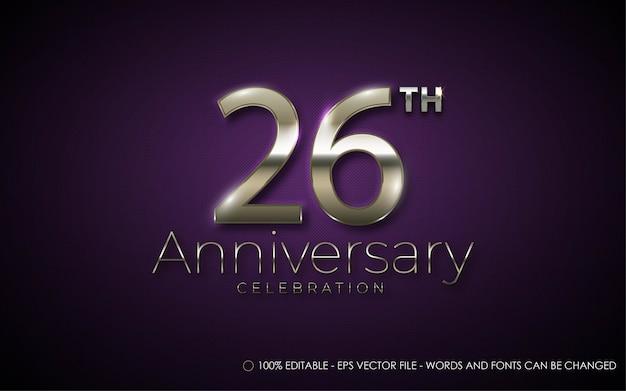 Effetto di testo modificabile, illustrazioni in stile celebrazione del 26 ° anniversario Vettore Premium