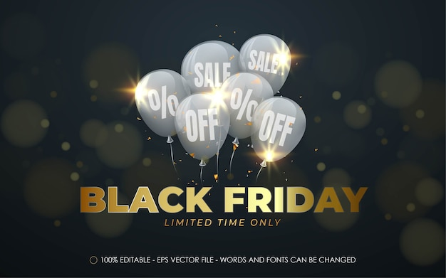 Effetto testo modificabile, illustrazioni in stile black friday Vettore Premium