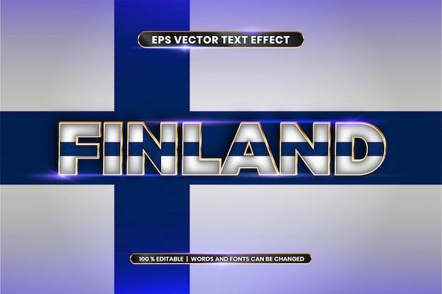 Effetto di testo modificabile - finlandia con la sua bandiera nazionale Vettore Premium