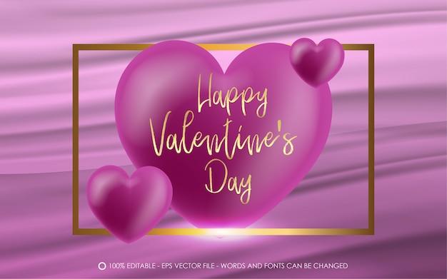 Effetto di testo modificabile illustrazioni in stile san valentino felice con oro quadrato e amore Vettore Premium