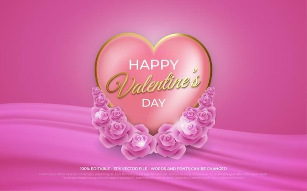 Effetto di testo modificabile, illustrazioni in stile oro happy valentine's day Vettore Premium