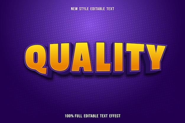Testo modificabile effetto qualità colore giallo e viola Vettore Premium