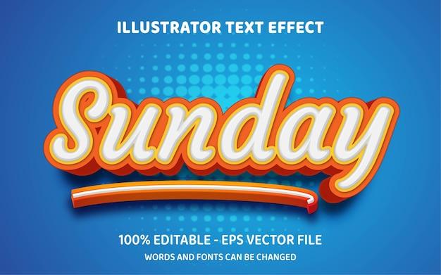 Effetto testo modificabile, illustrazioni in stile domenica Vettore Premium