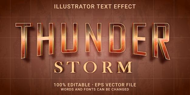 Effetto testo modificabile in stile thunder strom Vettore Premium
