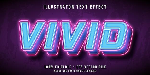 Effetto di testo modificabile - stile vivido di luci al neon Vettore Premium