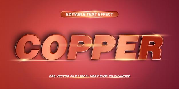 Effetto di testo modificabile - word copper Vettore Premium