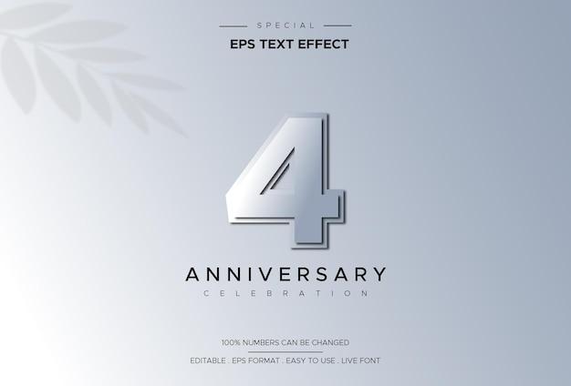Effetto di stile di testo modificabile con numeri del 4 ° anniversario Vettore Premium