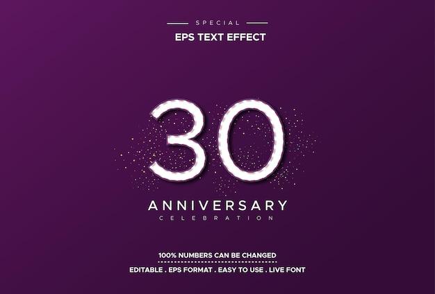 Effetto stile testo modificabile con numeri anniversario Vettore Premium