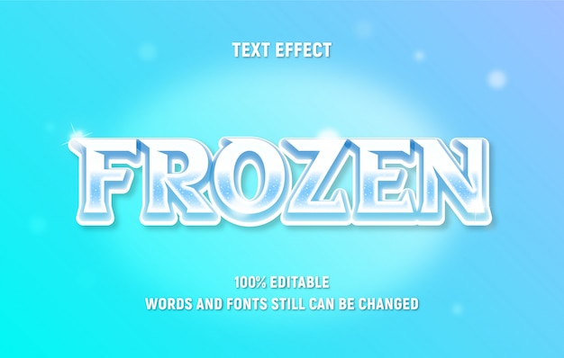 Testo bianco modificabile su frozen con effetto sfumato in stile moderno. Vettore Premium