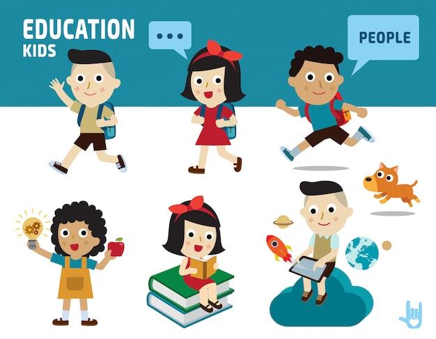 Concetto di educazione. bambini diversi di costume e pose d'azione. Vettore Premium