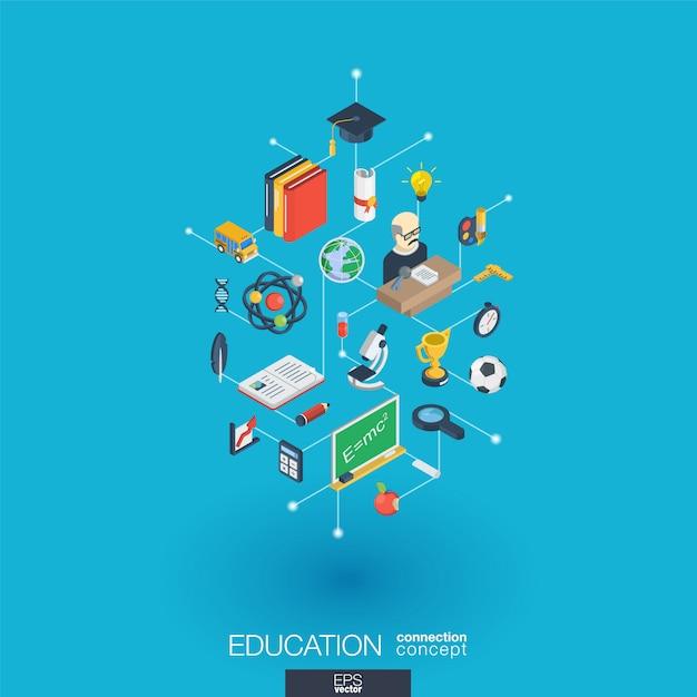 Icone web integrate istruzione. concetto di interazione isometrica rete digitale. sistema grafico di punti e linee collegato. sfondo astratto per elearning, laurea e scuola. infograph Vettore Premium