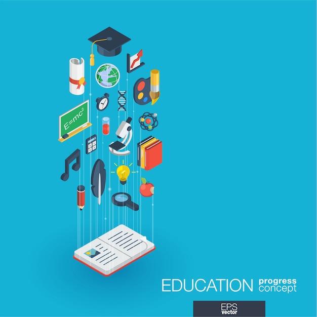 Icone web integrate istruzione. concetto di progresso isometrico della rete digitale. sistema di crescita della linea grafica collegato. sfondo astratto per elearning, laurea e scuola. infograph Vettore Premium