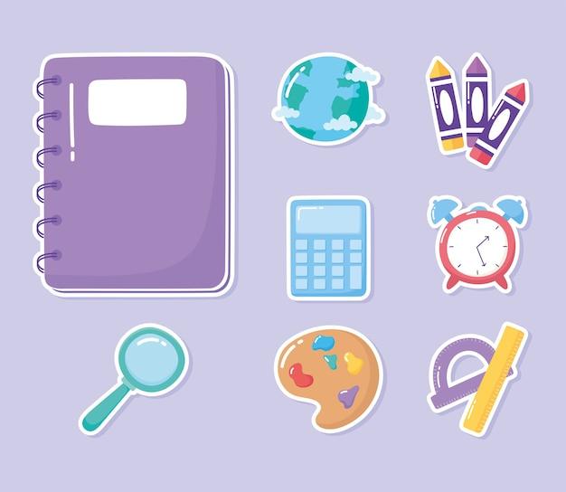 Istruzione notebook calcolatrice righello goniometro pastelli scuola elementare fumetto icone illustrazione Vettore Premium