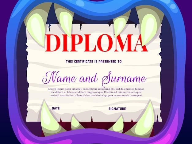 Diploma di scuola di formazione con bocca di mostro Vettore Premium
