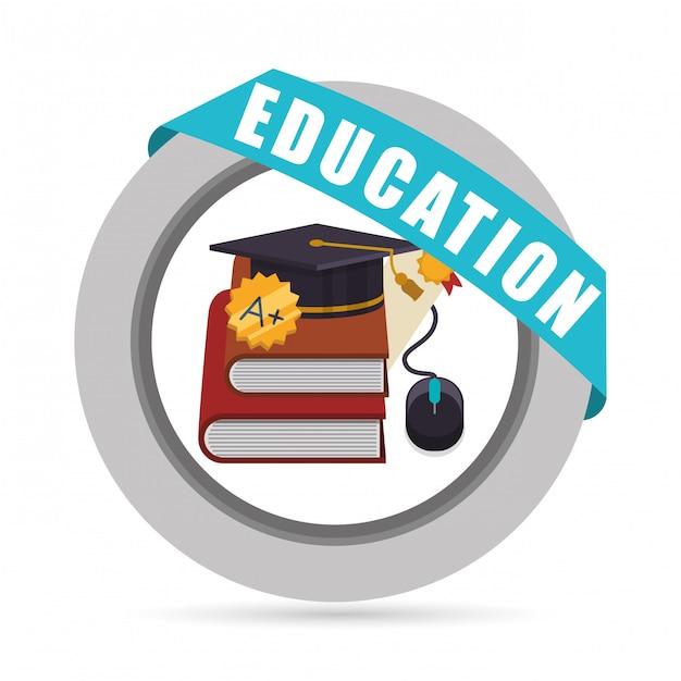 Icone di educazione e scuola Vettore Premium