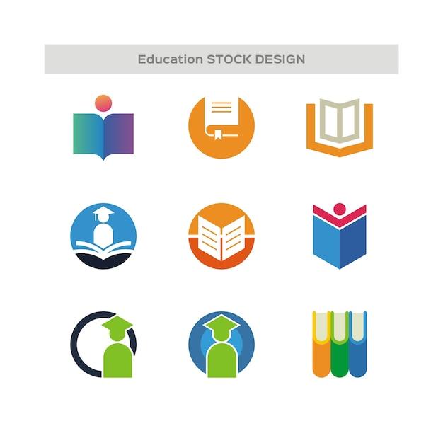 Logo di stock design per l'istruzione Vettore Premium