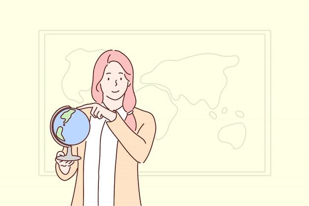 Istruzione, insegnamento, geografia, concetto del globo Vettore Premium