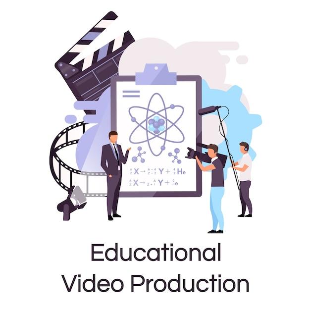 Icona di concetto piatto di produzione video educativo. tutorial, lezione di scienza, adesivo di tiro, clipart. elearning, streaming video e blog. illustrazione isolata del fumetto su fondo bianco Vettore Premium