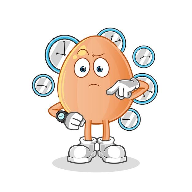 Uovo con cartone animato orologio da polso. mascotte dei cartoni animati Vettore Premium