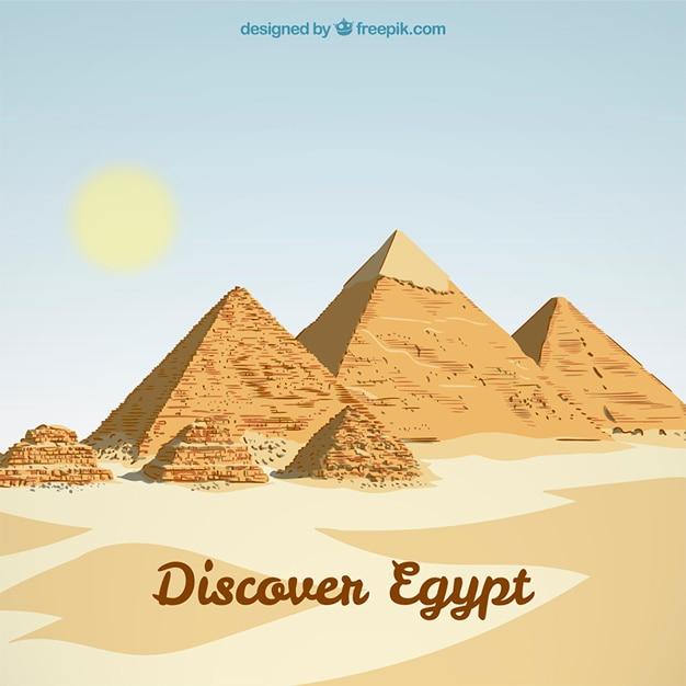 Egitto paesaggio di sfondo Vettore Premium