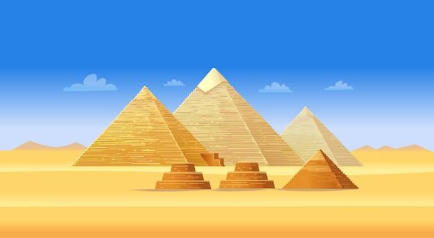 Complesso della piramide egizia a giza. famoso punto di riferimento africano, centro turistico del cairo. illustrazione . Vettore Premium