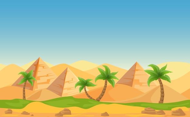 Piramidi egizie con palme nel paesaggio desertico. illustrazione del fumetto. Vettore Premium