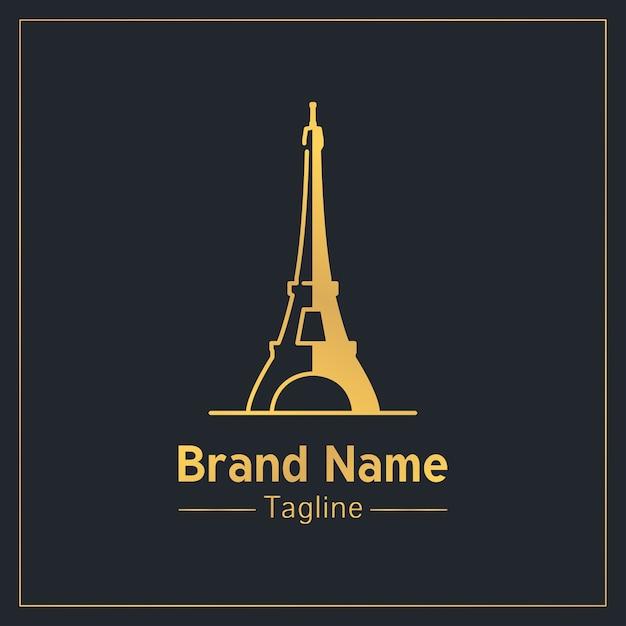 Modello di logo moderno dorato di torre eiffel Vettore Premium