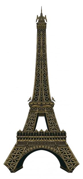 Illustrazione della torre eiffel Vettore Premium
