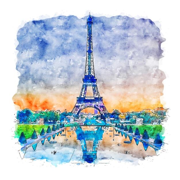 Illustrazione disegnata a mano di schizzo dell'acquerello della torre eiffel parigi francia Vettore Premium