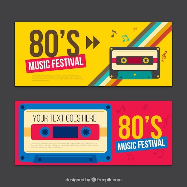 Eighties striscioni con cassette Vettore Premium
