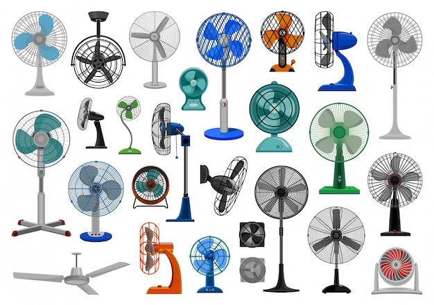 Insieme dell'icona del fumetto del ventilatore elettrico Vettore Premium