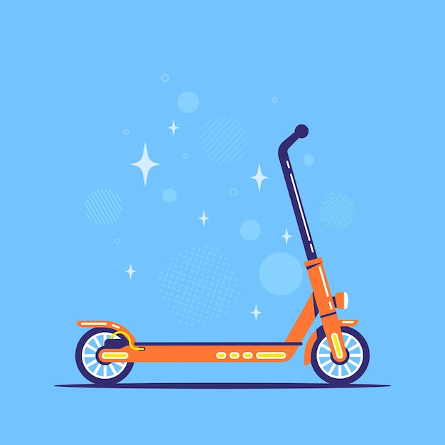 Scooter elettrico su sfondo blu Vettore Premium