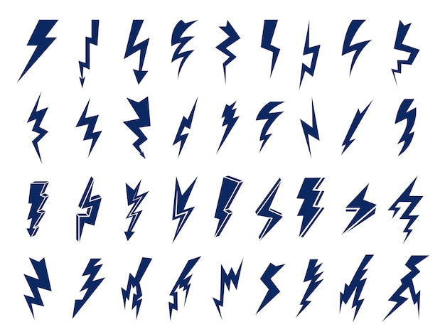 Simboli elettrici. loghi di lampi elettrici Vettore Premium