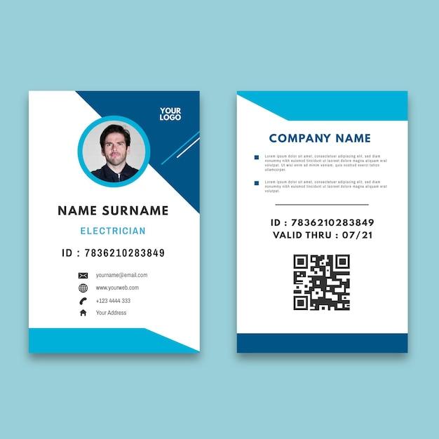 Modello di carta d'identità annuncio elettricista Vettore Premium
