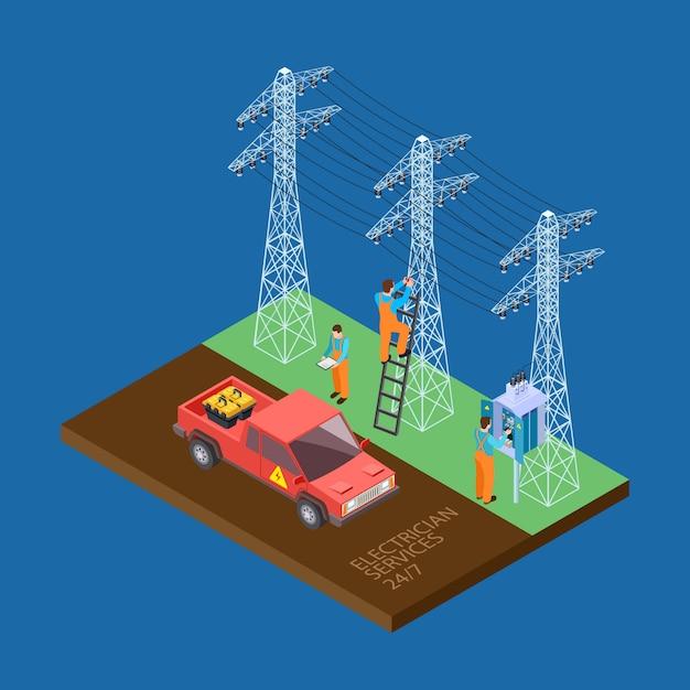 Elettricista città servizi composizione isometrica Vettore Premium