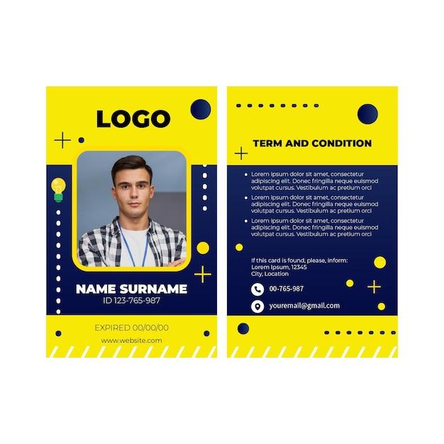 Modello di carta d'identità elettricista Vettore Premium
