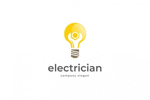 Modello di logo di elettricista Vettore Premium