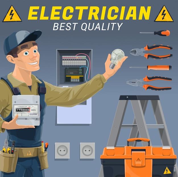Elettricista con apparecchiature elettriche e strumenti Vettore Premium