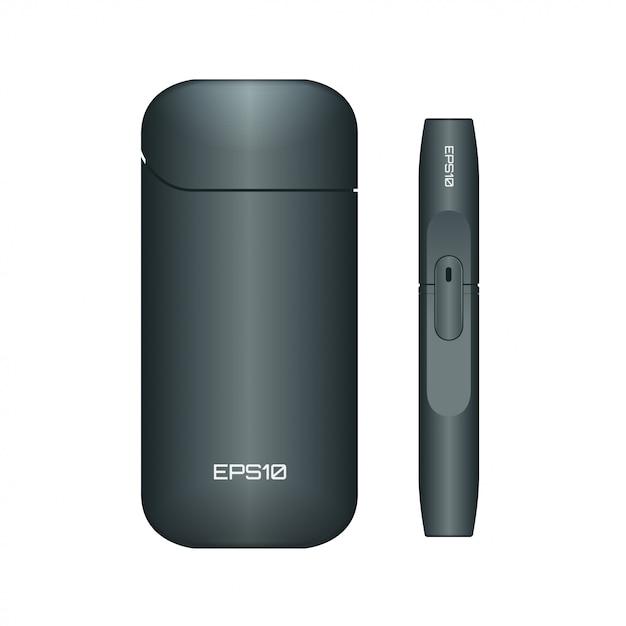 Sigaretta elettronica. illustrazione della sigaretta elettronica nera Vettore Premium