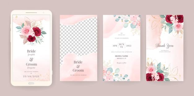 Il modello elettronico della carta dell'invito di nozze ha messo con il fondo floreale e dell'acquerello. illustrazione di fiori per storie sui social media, salva la data, saluto, rsvp, grazie Vettore Premium