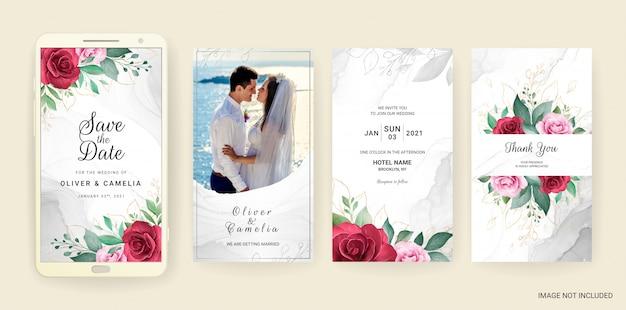 Il modello elettronico della carta dell'invito di nozze ha messo con l'acquerello e l'oro floreali. Vettore Premium