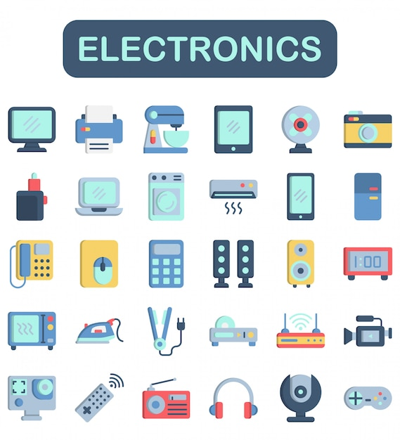 Set di icone di elettronica, Vettore Premium