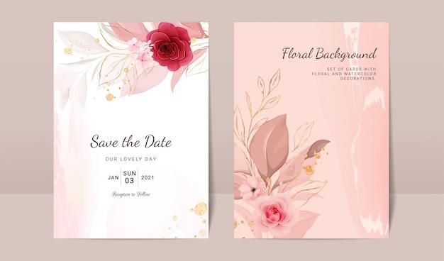 Elegante sfondo astratto. il modello della carta dell'invito di nozze ha messo con la decorazione dell'acquerello floreale e dell'oro per salvare la progettazione della data, del saluto, del manifesto e della copertura Vettore Premium