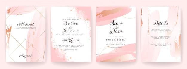 Elegante sfondo astratto. il modello della carta dell'invito di nozze ha messo con la spruzzata dell'acquerello e la decorazione dell'oro. design a pennellata Vettore Premium